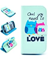 Angelina(TM) Owl Style Luxury New Arrival Wallet Design Flip Leather Pouch Cover Case for Samsung Galaxy S3 MINI i8190