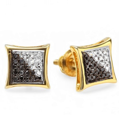 0.10 Carat (ctw) 18K Yellow Gold Plated Sterling Silver White & Black Round Diamond Micro Pave Setting Kite Shape Stud Earrings
