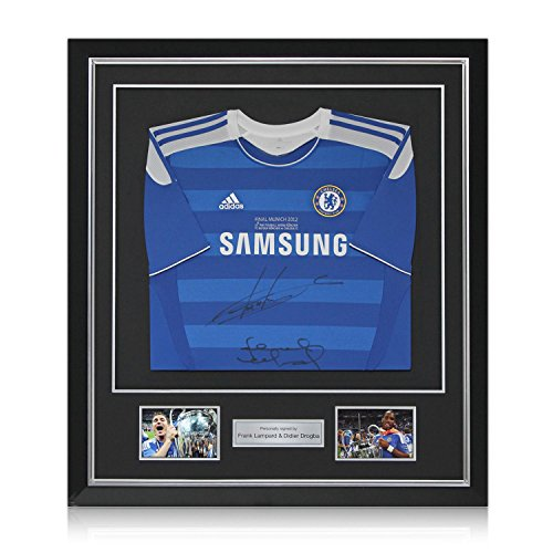 Deluxe Framed Frank Lampard And Didier Drogba Signed Chelsea 2012 Champions League Final Jersey   Autographed Soccer Shirt