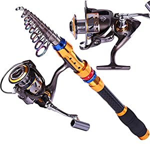 Telescopic Saltwater Fishing Rod and Reel Combos Travel Fishing Pole Kit by Sougayilang
