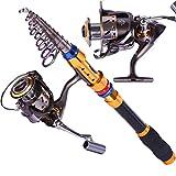 Sougayilang Telescopic Saltwater Freshwater Fishing Rod and Reel Combos Travel Fishing Pole Kit