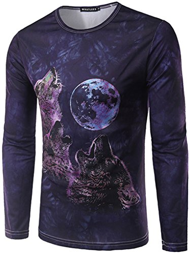 WHATLEES - Hip Hop Slim Fit a maniche lunghe felpe con colorati 3d Digital Print B057-31 Medium