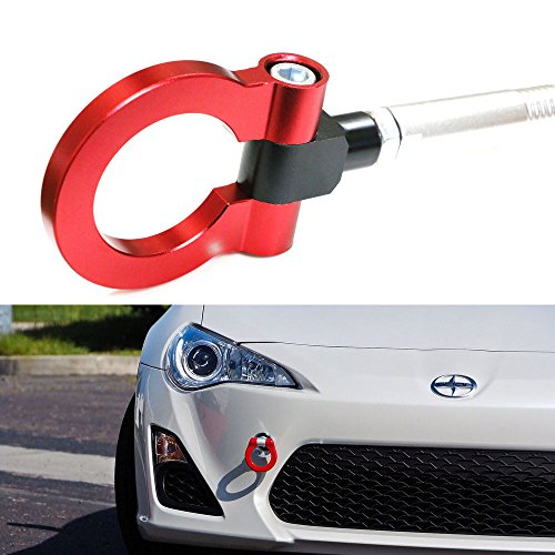 iJDMTOY (1) Sports Red Track Racing Style Aluminum Tow Hook For Scion FR-S Subaru BRZ Impreza WRX Sti, etc (Wrx Sti Tow Hook compare prices)