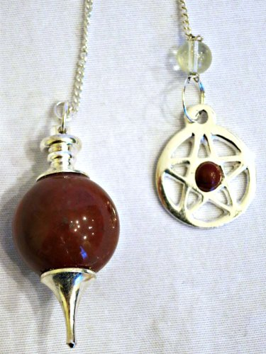 Red Jasper Ball Pendulum with Pentagram End