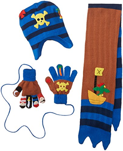 Kidorable Little Boys' Pirate Hat Scarf Gloves Set, Brown, Small