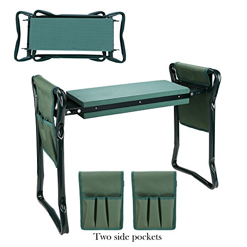 Homdox Folding Garden Kneeler Seat Bench Stool with Kneeling Pad and two Tool Pouches