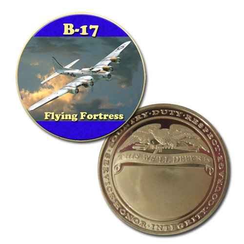 B-17 Flying Fortress Colorzied Printed Challeng Coin