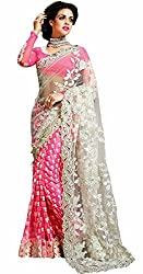 Puffin Fashion Bollywood Designer Colour Pink Fabric Net and Georgette Embroidary Saree With Blouse Piece