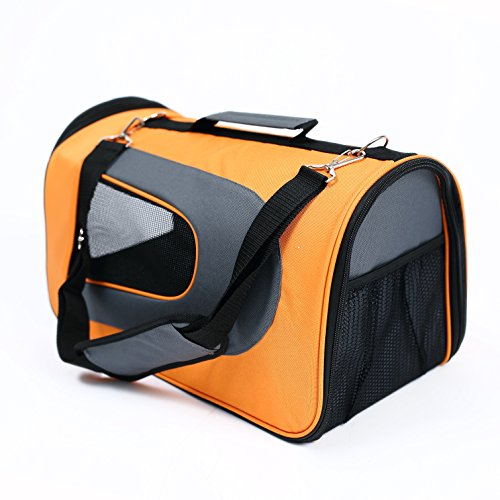 Petcomer 2016 New Designe Aviation Bag for Pet, Airline Approved Pet Travel Carrier, Wearable Knapsack for Outgoing ( orange+grey)