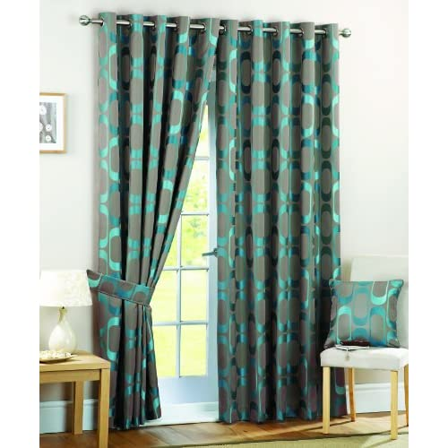 curtina osbourne eyelet lined curtains teal 90x54 inch