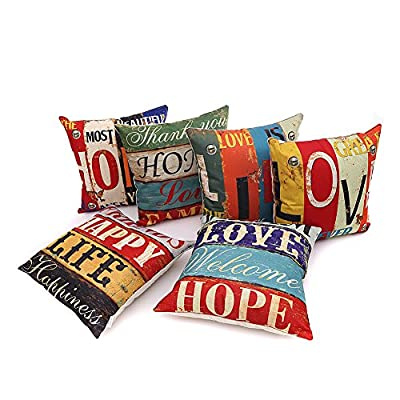 HOSL PCom03 LOVE Series Cotton Linen Decorative Cushion Cover Square Throw Pillow Case Set of 6 - LOVE and HOPE