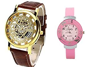 Addic Combo Of Two Skeleton Analog Watch Glory Pink Analog Watch for men and women