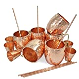 Set of 6, 100% Authentic Copper Mug with FREE Copper Shot Glass And Copper Straw - 16 oz Copper Moscow Mule Mug - Solid Copper Bar, Cocktail & Wine Glasses/Beer Mugs