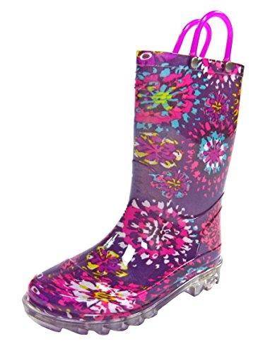 Western Chief Abstract Blooms Lighted Boot Girls' Toddler-Youth Boot 8 M Us Toddler Purple-Shiny