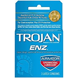 Trojan-ENZ Premium Latex Condoms Spermicidal 3 ct Pack of 6