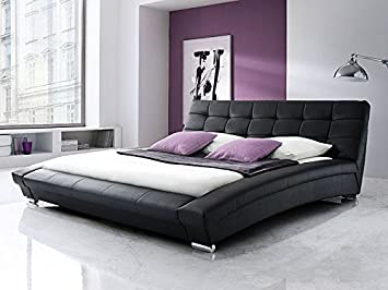 Expendio 44843684 Polsterbett, Lederimitat, schwarz, 255 x 225 x 87 cm