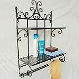 EIK -Fer forgé salle de bain serviette rack savon support mural de salle de bain douche rack de stockage Rack...