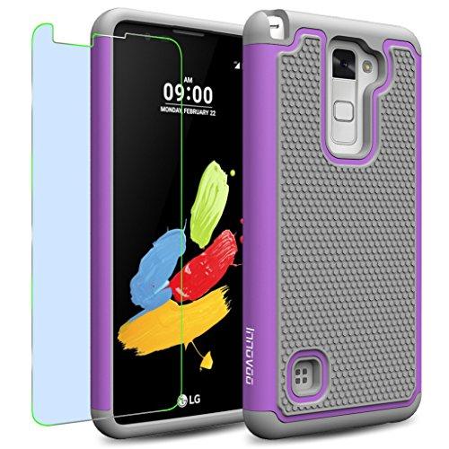 LG Stylus 2 / LS775 / K520 Case, INNOVAA Smart Grid Defender Armor Case W/ Free Screen Protector & Touch Screen Stylus Pen - Grey/Light Purple