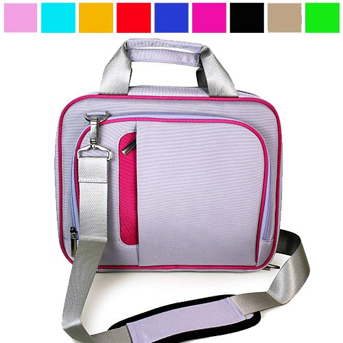 Grey with Pink Trim Durable Protective Shoulder Carrying Bag with Removable Shoulder Strap for Verizon Wireless New Motorola Xoom Multi-Touch 10 inch Tablet (Android 3.0 Honey comb Platform), Many Color Available, Pink
