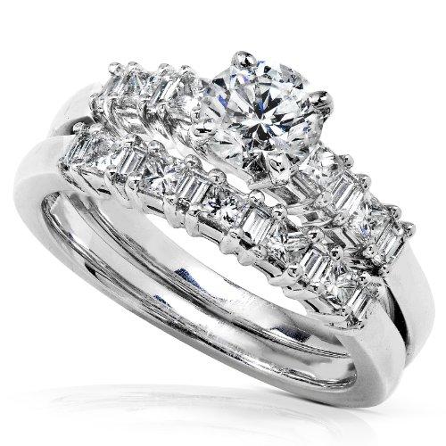 1 Carat Round Diamond Bridal Wedding Ring Set 14k White Gold - Size 10