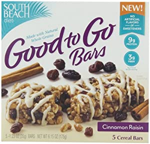 South Beach Diet Good To Go Cereal Bars, Cinnamon Raisin, 1.23 Ounce, 5-Count (Pack of 8)