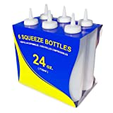New Star Foodservice 26207 Plastic Squeeze Bottle, 24-Ounce, Clear, Set of 6