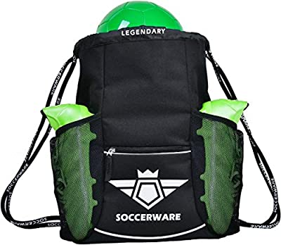 Soccer Bag Backpack - XL Capacity | Youth & Adult | Heavy Duty | Fits Soccer Ball, Shoes / Cleats | U5 - U22 Boys/Girls Adjustable Size I By Soccerware