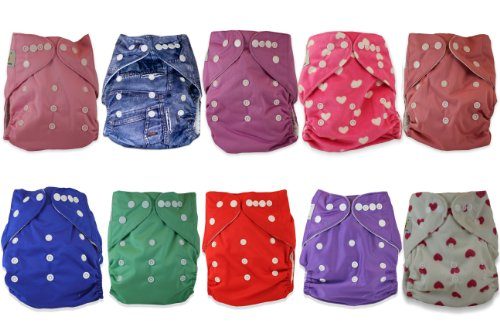 Naughty Baby Cloth Diapers with 3 Layer Microfiber Insert (GIRLS Pack of 10) 6-31 Lbs Leak Proof PUL Pocket Diaper (Styles may vary) - 1