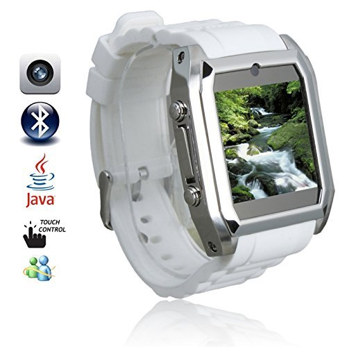 """Great Value Tw206 1.54"""" High Definition Smallest Touch Screen Watch Cell Phone White"""
