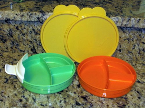 Tupperware 2 Toddler Size Divided Dishes with Seals