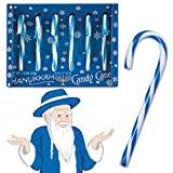 Six Peppermint Flavored Candy Canes Hanukkah Cane Blue White Funny Boxed
