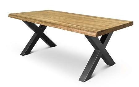 COMIFORT Mesa de comedor moderna de Roble macizo 130x75 cm y patas X-forma en Grafito