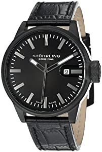 Stuhrling Original Men`s 468.33551 Octane Concorso Classic Swiss Quartz Date Black Leather Strap Watch