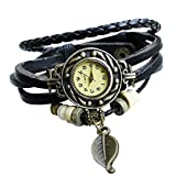 Moonar®BeautyLife Weave Wrap Around Leather Bracelet Quartz Lady Women Wrist Watch (Black) thumbnail