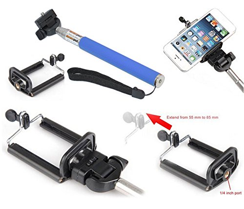 Apexel Adjustable Extendable Handheld Camera Monopod Tripod Mount Adapter with Smartphone Universal Clip for Samsung iPhone HTC SONY Smartphone - Blue