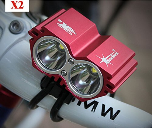 Solarstorm 1500 Lumen 2X Cree Xml U2 Led Cycling Bicycle Bike Light Lamp Headlight Rechargeable Headlamp (Red)