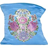 Turquoise-Blue Banarasi Cushion Cover With Hand-woven Flower Vase - Satin Silk - Weaver Kasim Family