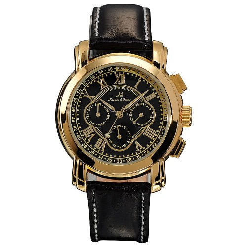 KS Golden 6 Hands Luxury Leather Band Automatic Mechanical Mens Wrist Watch