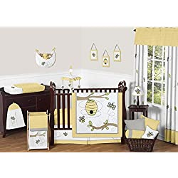 Sweet Jojo Designs Honey Bumble Bee Hive Yellow, Gray and White Unisex 11pc Baby Girl or Boy Crib Bedding Set without bumper
