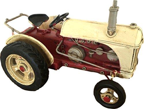 Blech-Traktor-Modellauto-Nostalgie-rotwei-16x10x95-cm-Metall-Retro-Shabby-Vintage