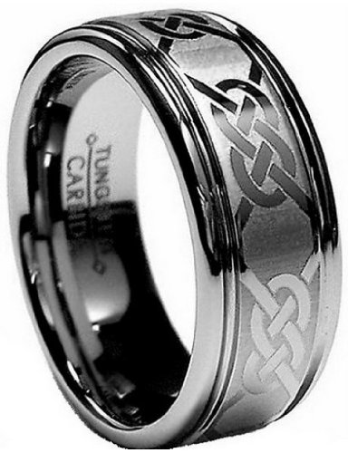 Mens Tungsten Carbide 8mm Laser Etched Celtic Design Wedding Engagement Band Ring Size Z+4 -Comes In A Luxury Gift Box - Available In Most Sizes....