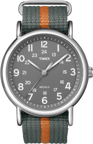 Timex Men's T2N649KW Weekender Gray and Orange Slip Through Strap Watch