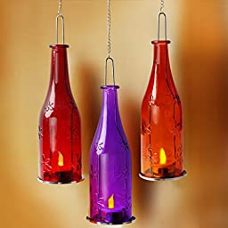 BRIGHT ZEAL Set of 3 Lifelike LED Hanging Wine Bottle Lights with Metal Chain (9\