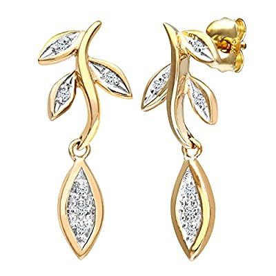 Ariel Women's 9ct Yellow Gold Diamond Flower Drop Earrings