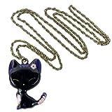 niceeshop(TM) Vintage Glazed Lady Cat Pendant Long Chain Necklace,Black