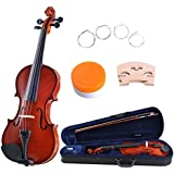 ADM 1/4 Size Handcrafted Solid Wood Student Violin with Starter Kits, Traditional Red Brown Lacquer Finish