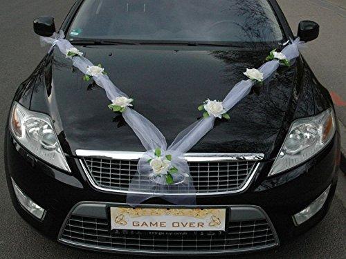 organza m auto schmuck braut paar rose deko dekoration autoschmuck hochzeit car auto wedding. Black Bedroom Furniture Sets. Home Design Ideas