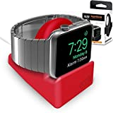 Orzly® Night-Stand For Apple Watch - RED Support Stand With Slot For Concealing Your Charging Cable (Grommet Charger...
