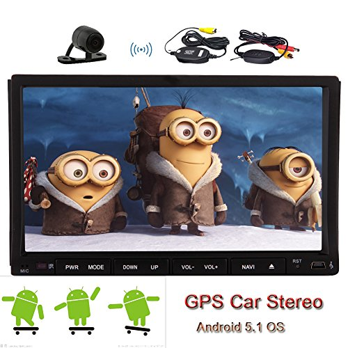 Android 5.1 GPS Multimedia Autoradio Stereo Sistema video ricevitore universale 2 DIN Audio MP4 veicolo accessori auto lettore DVD FM AM Autoradio CD Sub AMP logo Cortex A9 Quad Core Wireless Rear View Camera