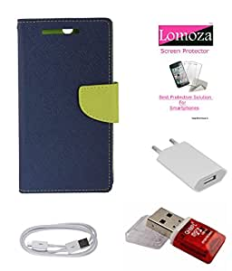 Lomoza Blue Magnetic Diary Cover for HTC Desire 526G+, Tempered Glass, Charger, Data Cable, Card Reader